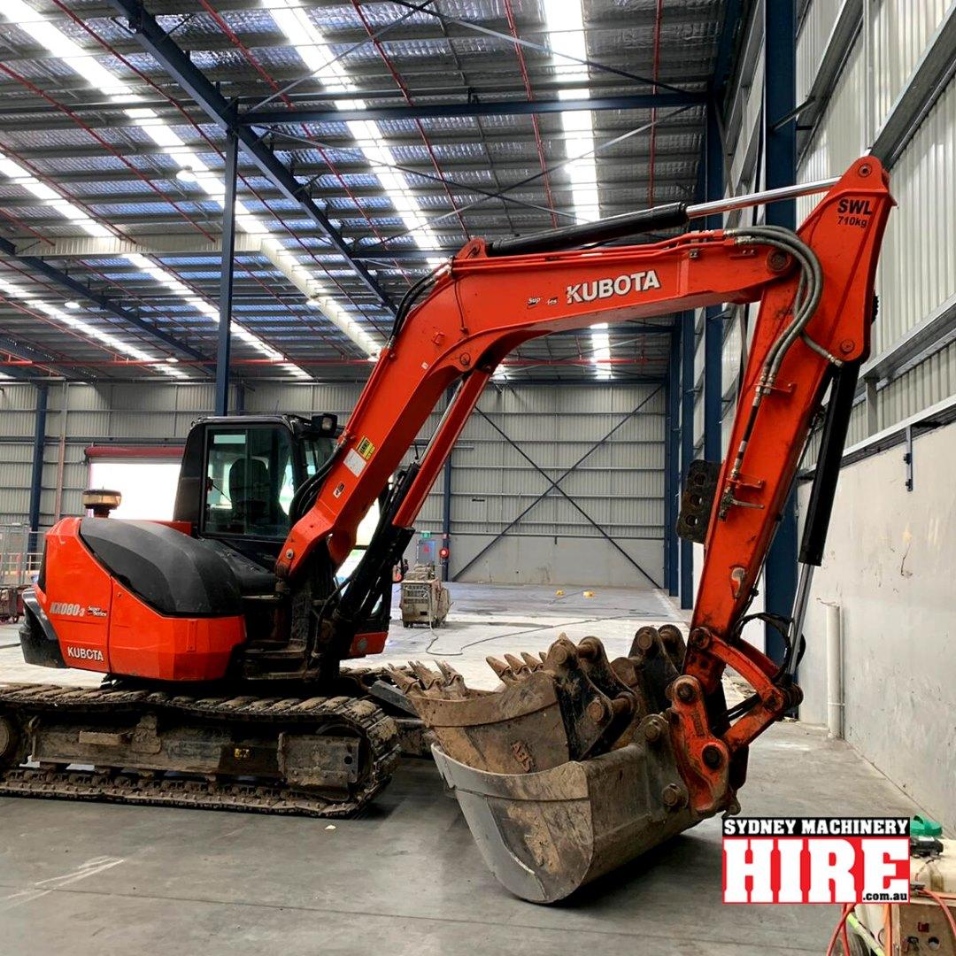 Hire Kubota kx080 8 tonne zero swing excavator – three buckets