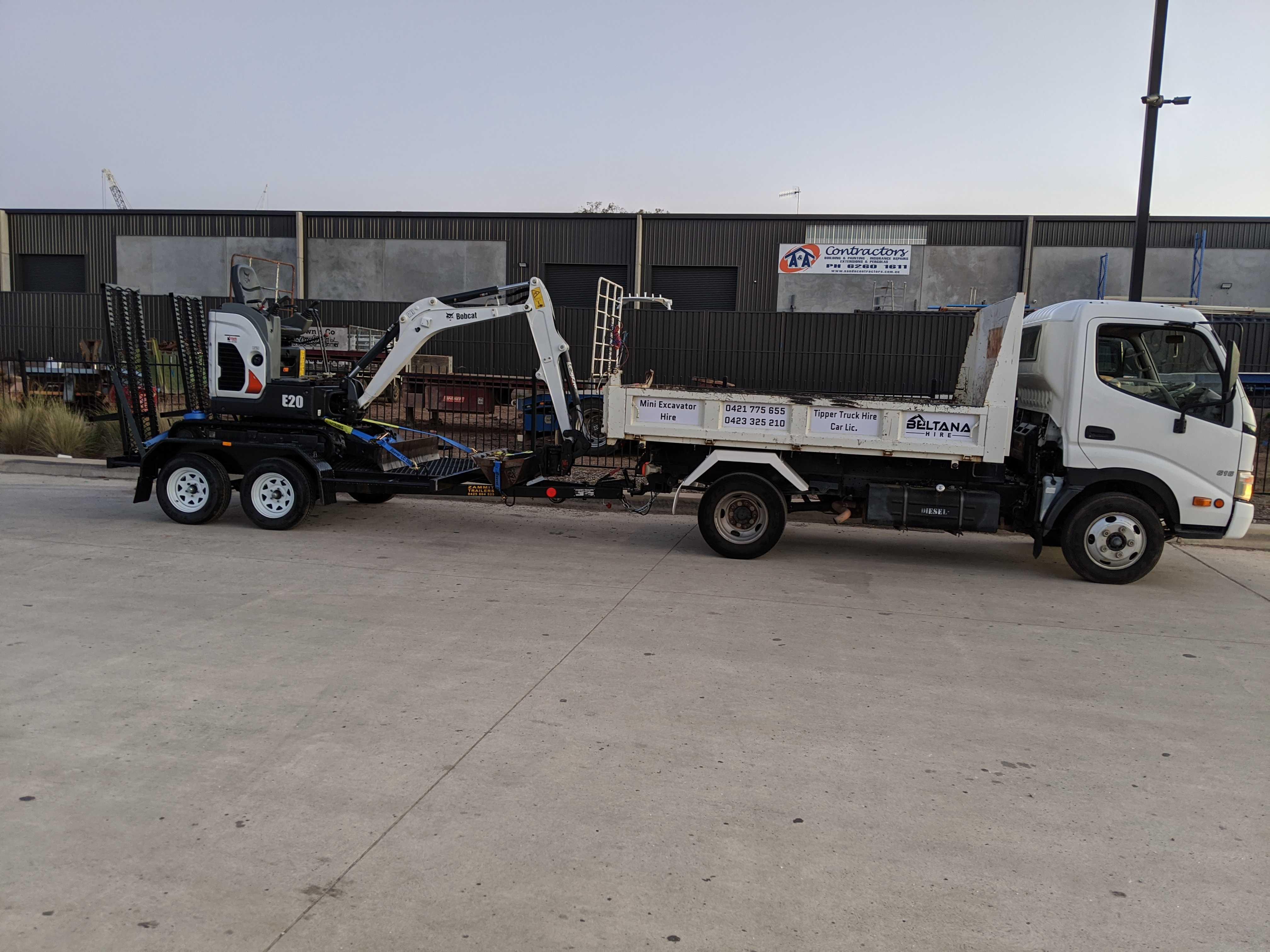Hire Tipper truck and mini excavator