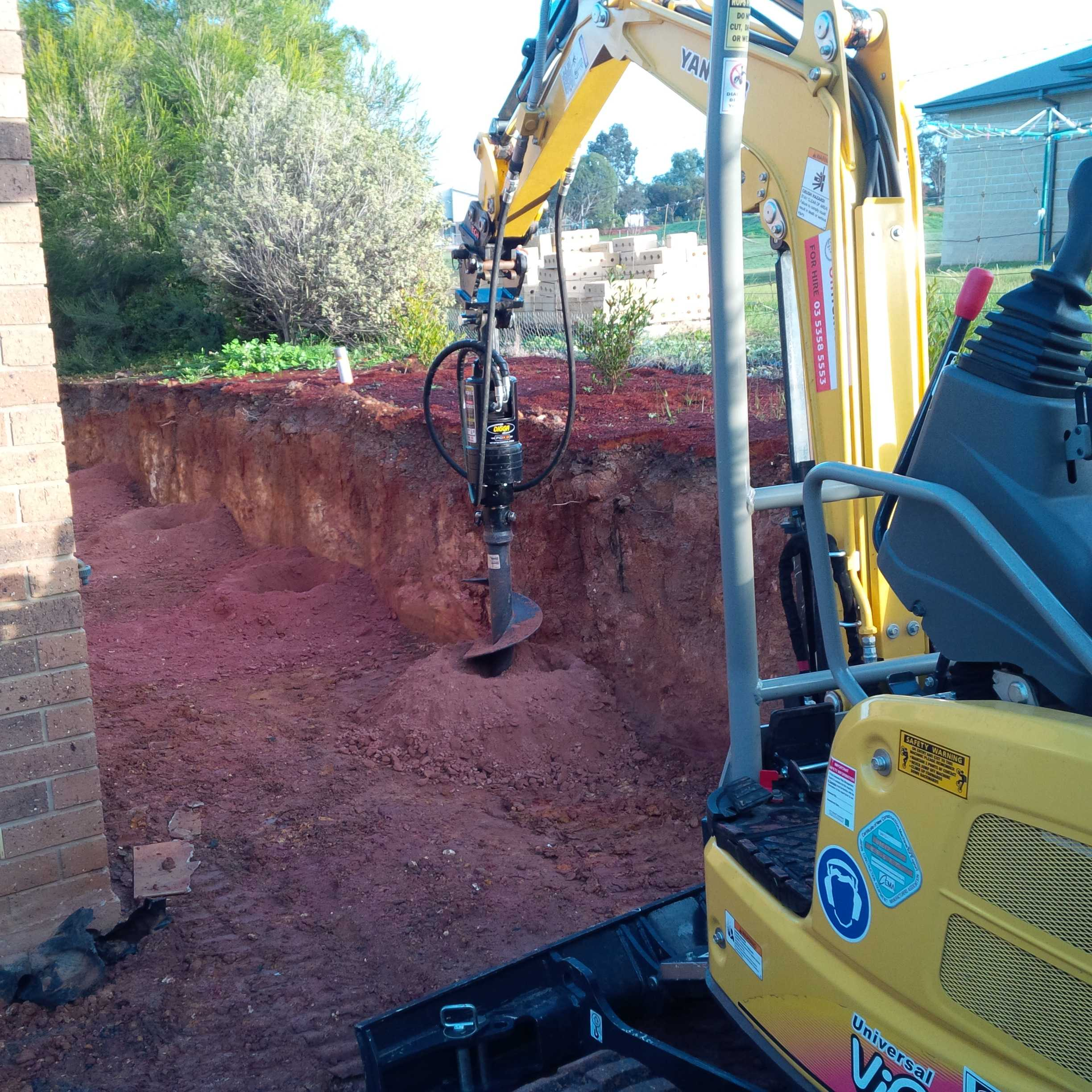 Post Hole Digger Hire with Mini Excavator