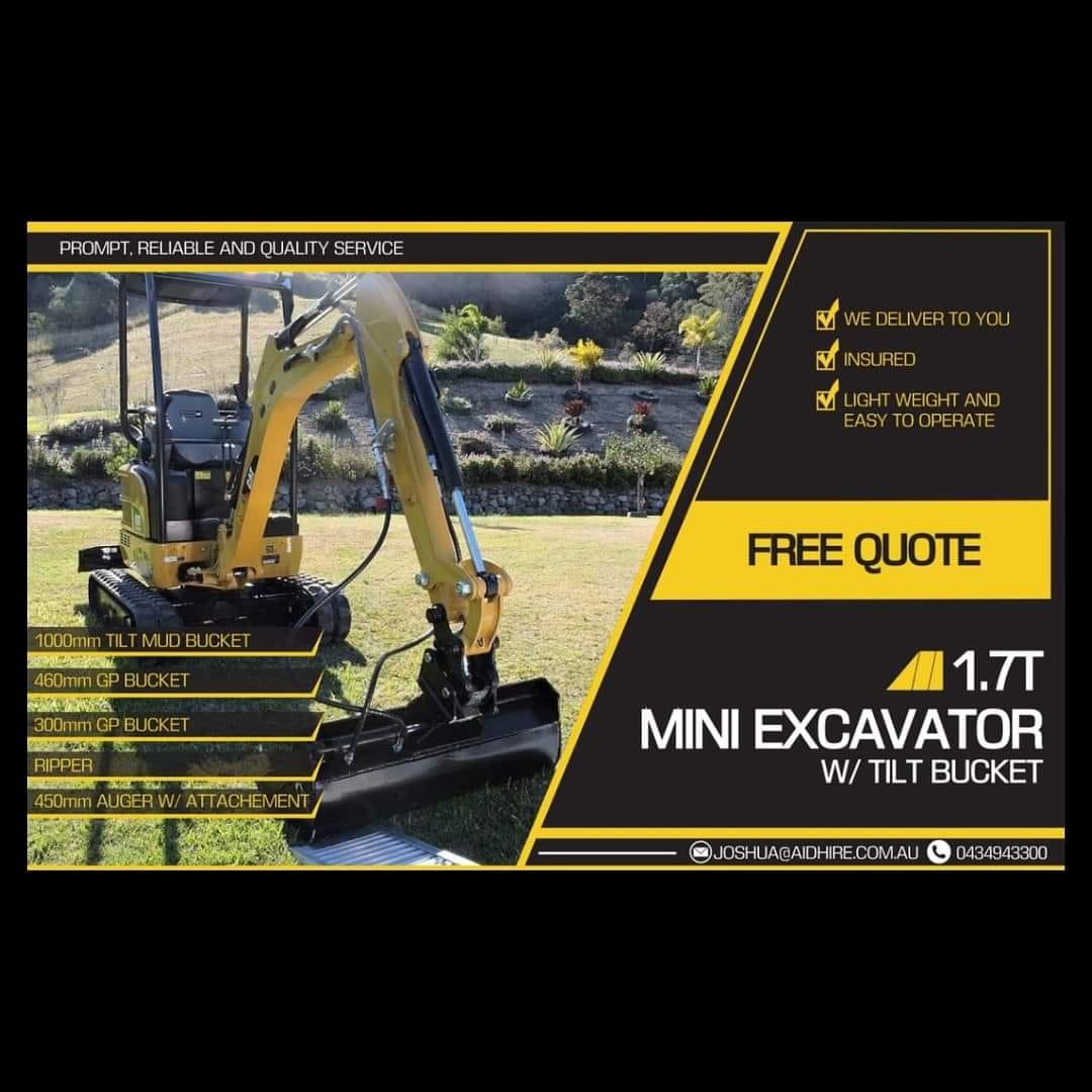 Mini Excavator on Plant Trailer Dry Hire- Cedar Creek, Kingsholme, Willowvale, Cedar Creek, Wongawallan, Upper Coomera, Tamborine Mountain, Gunanaba, Maudsland, Oxenford