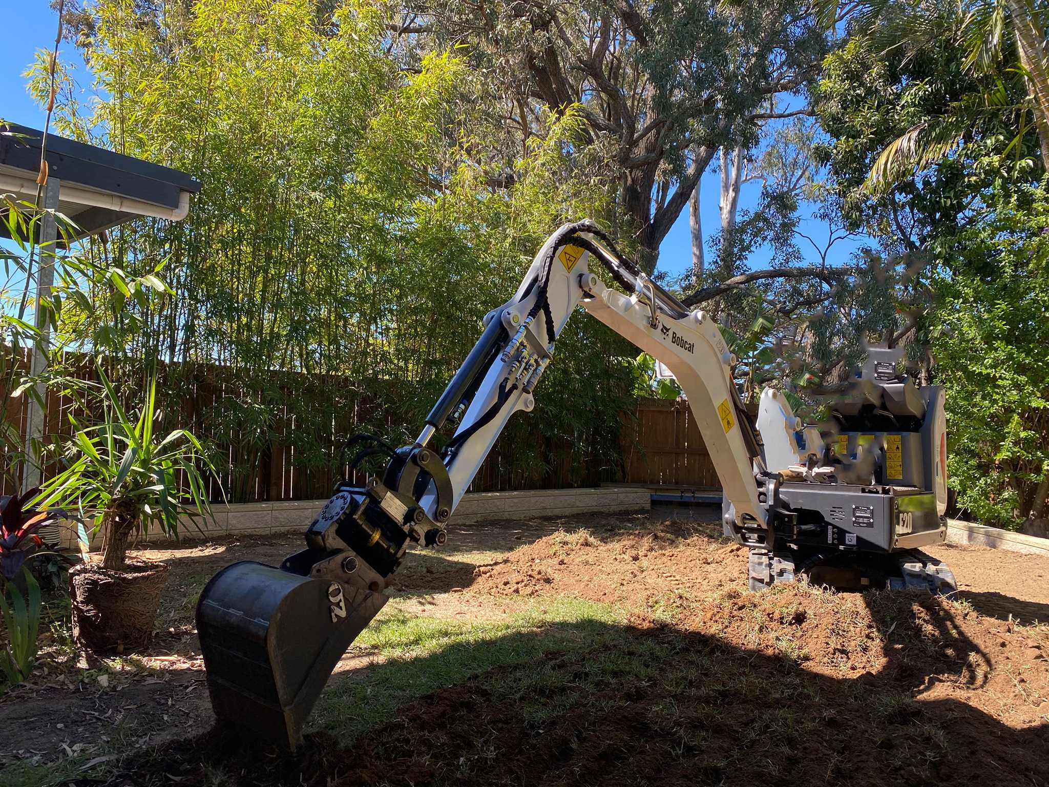 Bob Cat E20 Excavator and Vermeer S450TX mini skid steer Loader combo for wet hire with operator - Capalaba