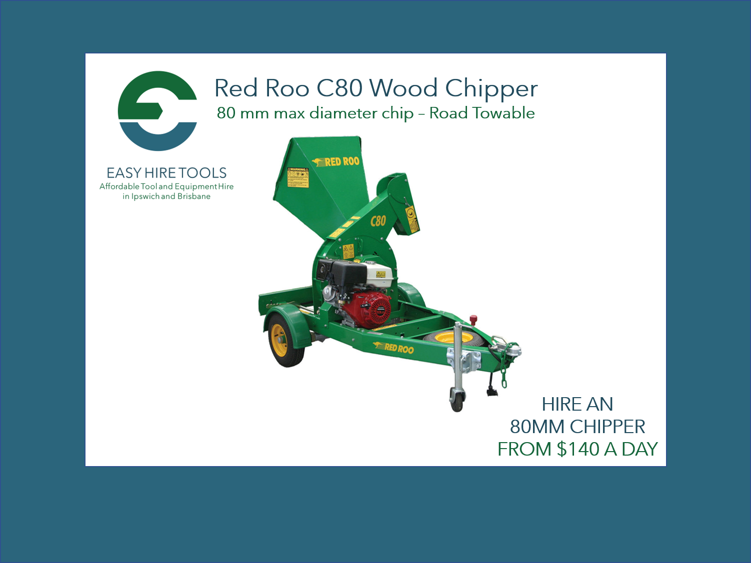 Hire 80mm Wood Chipper - Red Roo C80 - Road Towable