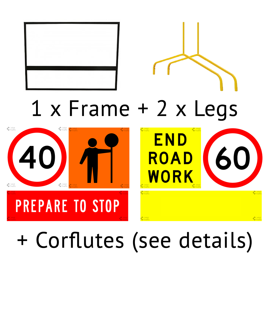 Hire MULTIMESSAGE SIGN FRAME, 2 BENT LEGS AND CORFLUTES