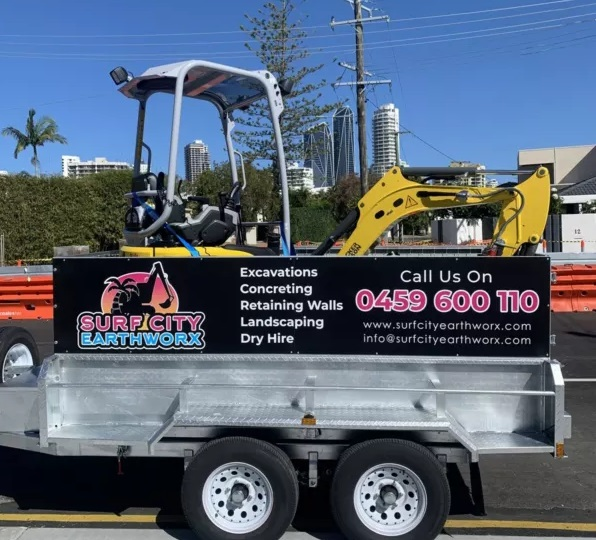 1.7T excavator on a trailer for hire